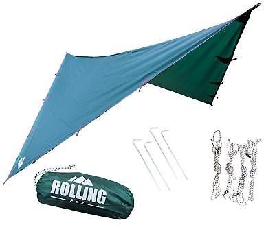 Camping Tarp Shelter Dark Green Compact Outdoor Camp Waterproof Survival Hammock