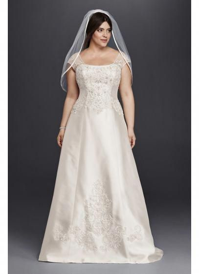 Cap Sleeve Mikado A Line Plus Size Wedding Dress 9wg3815 Plussizedressessimple