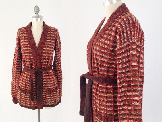 Vintage 70s Striped Bohemian Sweater  Rust Orange by BobcatVintage