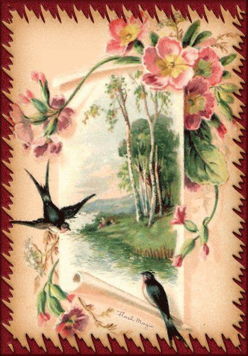 Добрым утром, винтажные открытки гифки