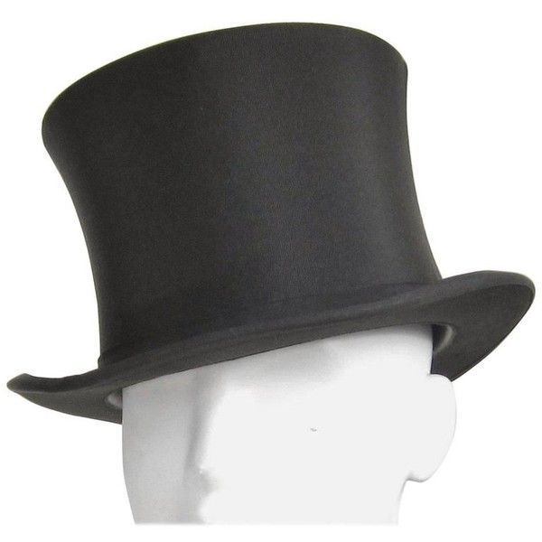 Preowned Vintage Stetson Black Top Hat With Box ($475) ❤ liked on Polyvore featuring accessories, hats, black, vintage top hat, tall hat, top hat, stetson hats and tall top hat