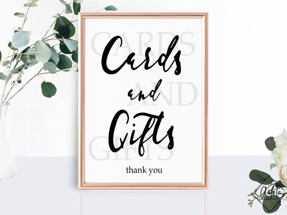 Cards And Gifts Sign Printable Wedding Cards Gifts Sign Template Bridal Shower Table Sign Reception Black Wh Gifts Sign Sign Templates Wedding Printables