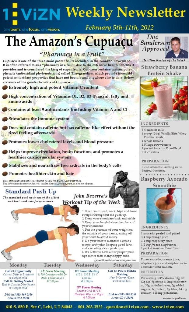 "Cupuacu - ""Pharmacy in a Fruit""; Strawberry Banana Protein Shake; Raspberry Avocado Shake; Push-ups"