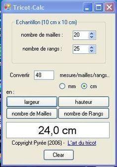 Logiciel calcul échantillon tricot GENIAL !! évite les calculs de règle de trois...