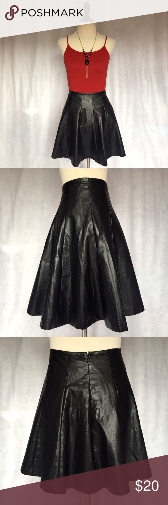 Forever 21 S Black Vegan Faux Leather Skater Skirt This Forever 21 vegan leather skirt is perfect for fall! Features non-elastic high waist, panels, faux leather, skater style, and mini length. Solid black and fully lined. Zips and hooks down back. Pair with fishnets for a rockin' look! Marked a size S. Measurements upon request. Listing is for skirt only; other items NFS.  #winter #fall #vegetarian #schoolgirl #goth #punk #rocker #uniform #kawaii #japan #grunge #edgy #80s #90s #clueless…