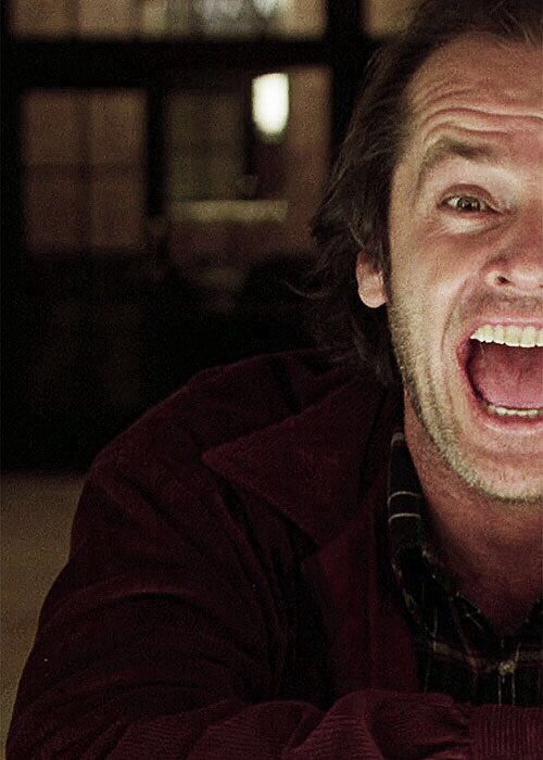 Jack Nicholson -The Shining. that maniacal laughter with his character is quite creepy. he makes a great villian/psychopath haha