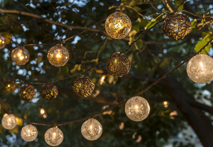 These beautiful crackled glass string lights would be the perfect addition to your outdoor patio.