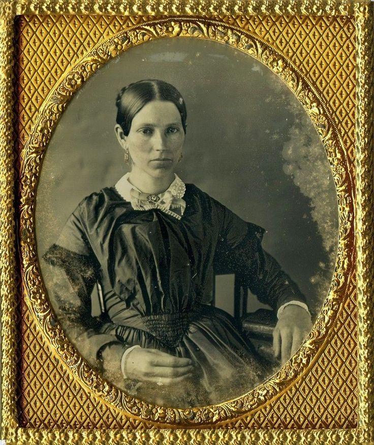 Very Beautiful Woman Wearing Black Silken Dress Dangly Earrings Daguerreotype | eBay