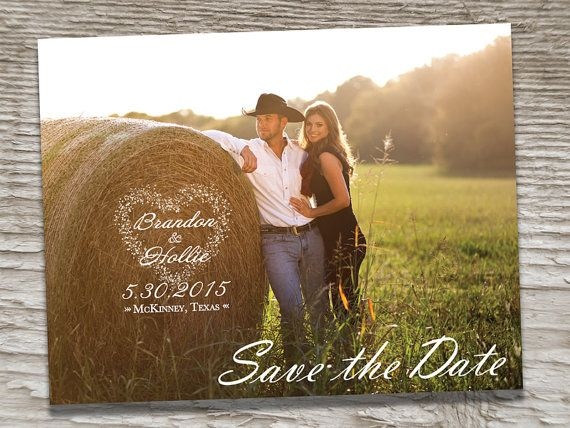 Western Cowgirl Outdoor Country Barn Style Wedding Save The Dates Photo Magnets Postcards by SAEdesignstudio