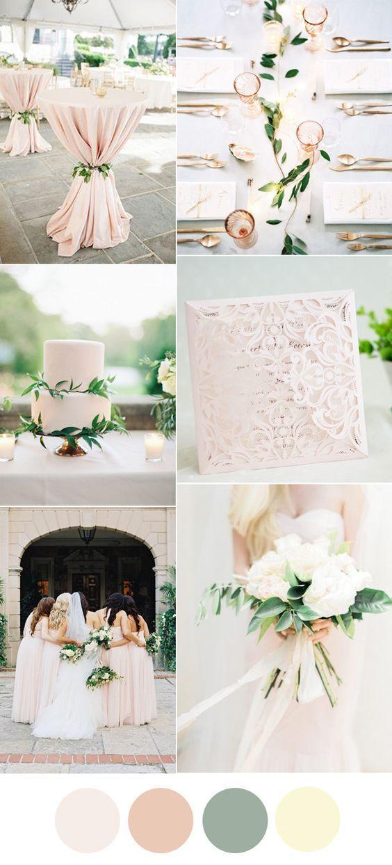 elelgant blue greenery neautral wedding color ideas