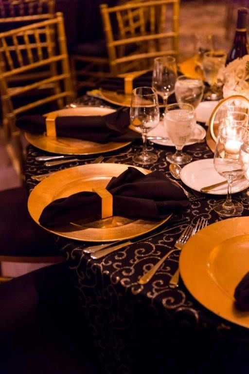 @mccallssf  outdid themselves with this one! Gorgeous Gatsby inspired event with our Black and Gold Metallic Swirl linens. Perfection
