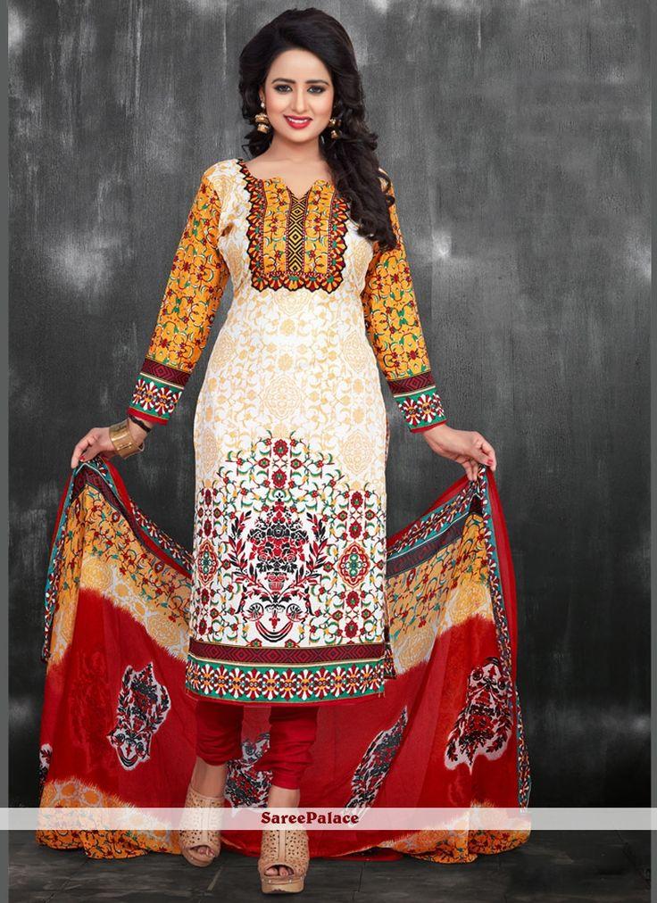 Elite Chanderi Print Work Churidar Suit