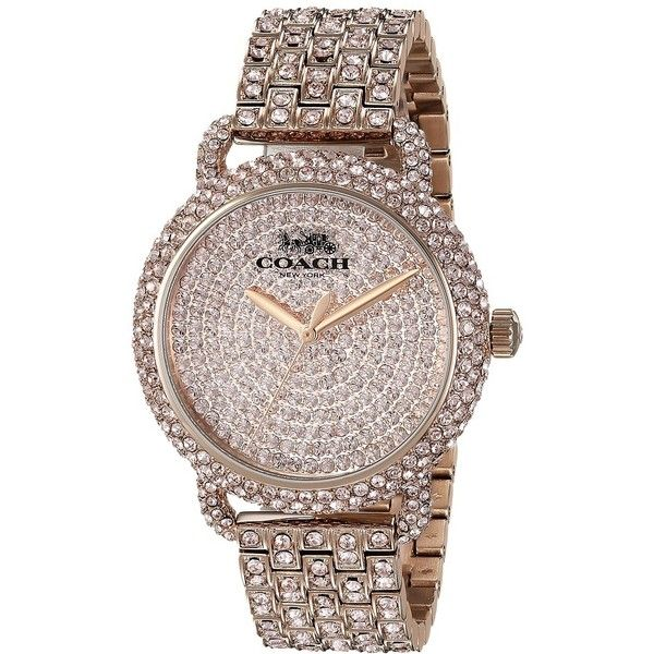 COACH Delancey - 14502900 (Carnation) Watches ($416) ❤ liked on Polyvore featuring jewelry, watches, coach jewelry, coach wrist watch, quartz movement watches, water resistant watches and military style watches