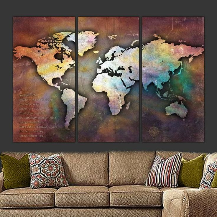 Earth Tone Push Pin Travel Map of World