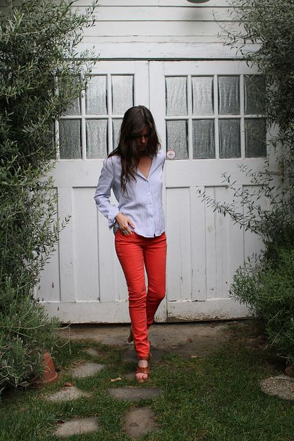 *Red skinnies, chambray shirt and brown platforms