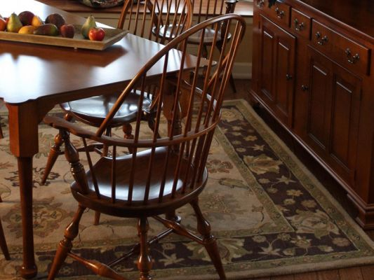 Our Philadelphia Windsor Dining Chair features a steam bent midrail and period perfect arrow feet in the solid American hardwood of your choosing.