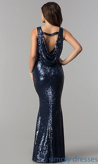 99441a4bc667f Shop long sequin prom dresses with strapped cowl backs at Simply Dresses. Formal  evening dresses for pageants under $100 with mermaid skirts.
