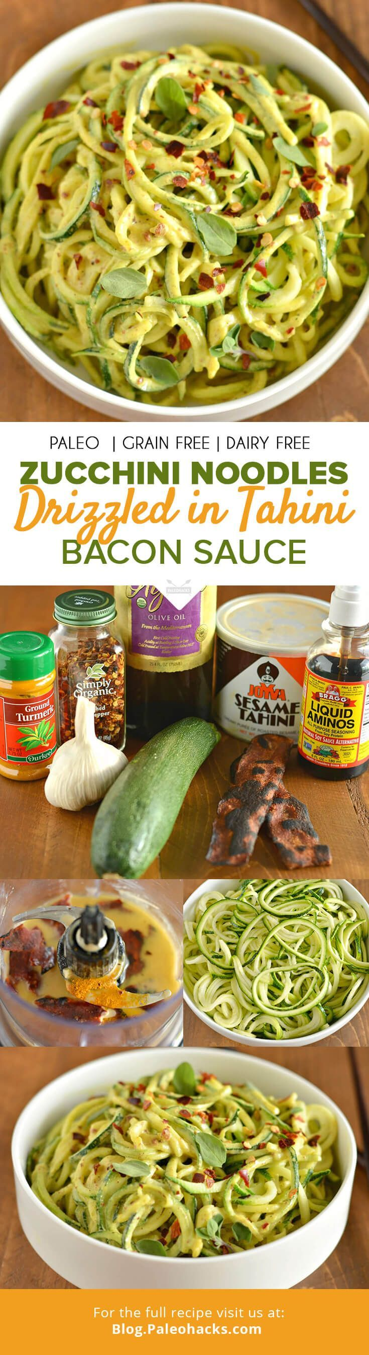 Think a creamy tahini sauce with bits of salty bacon drizzled over a bed of fresh zucchini zoodles. If you haven't zoodled yet, this is the perfect recipe to get started! For the full recipe visit us here: http://paleo.co/tahinibaconzoodles
