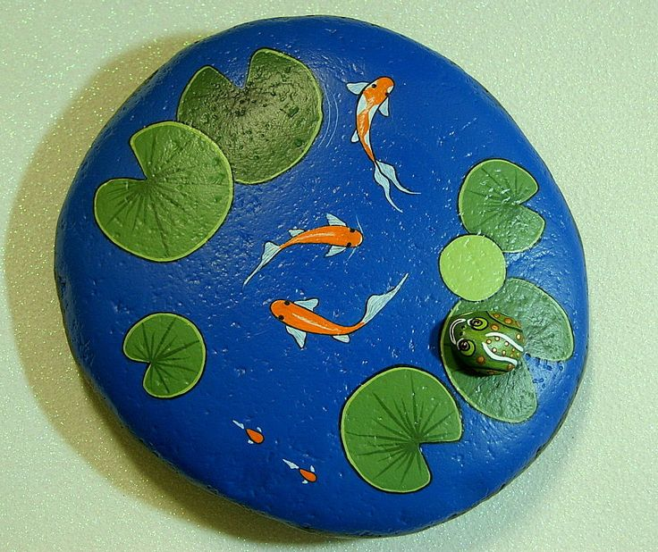 Painted Garden Rocks | Koi Pond large weatherproof rock garden decor cobalt blue water ...