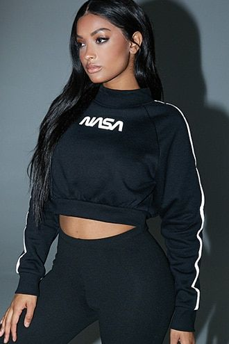 e930e66a6e60d NASA Reflective-Trim Cropped Sweatshirt