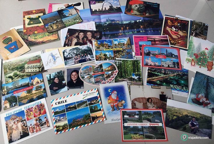 cartões postais, cartões de feliz natal e cartões de aniversário recebido de amigos por correspondência