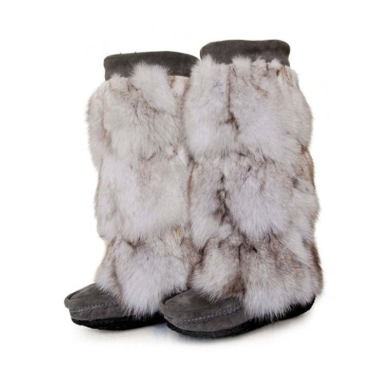 MUKLUKS Indian luxury glamorous big fox fur stitching Long Tall snow boots flat boots