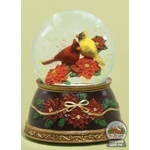Стеклянный снежный шар со снегом и блестками внутри - Интернет-магазин снежных шаров | Свиристели - Купить водяные новогодние шары,  сувениры, стеклянные шарики - с доставкой по Москве, России и СНГ | Все шарики - Свиристели - 2500.00руб.