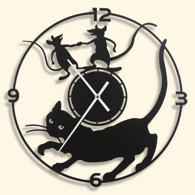 "Metal Wall clock MISTIGRI -  40 cm / 16"" - Laser cutting design - © Tolonensis Creation"