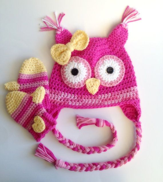 Crochet Owl Hat/Mittens Set