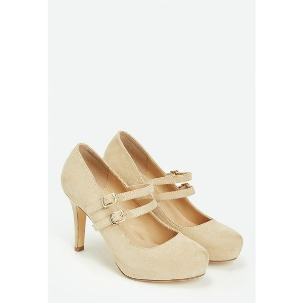Justfab Pumps Rayna ($40) ❤ liked on Polyvore featuring shoes, pumps, beige, high heel pumps, strap pumps, platform pumps, beige high heel shoes and strappy platform pumps