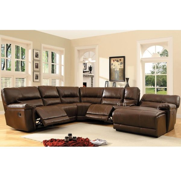 6 pc Blythe collection brown bonded leather match upholstered reclining sectional sofa set with chaise. This set features a recliner on the end ...  sc 1 st  Pinterest : leather sectionals recliners - islam-shia.org
