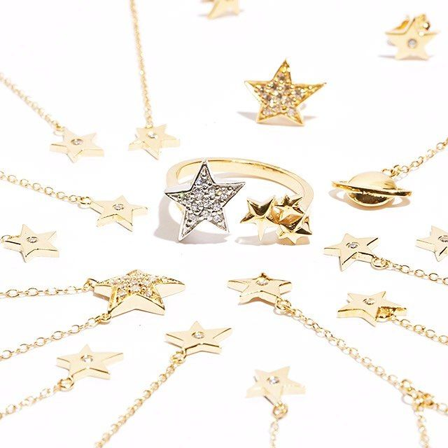 ICONERY | Kim France Celestial Jewelry Collection inspired by Peter Max | 14K Gold stars and planets jewelry