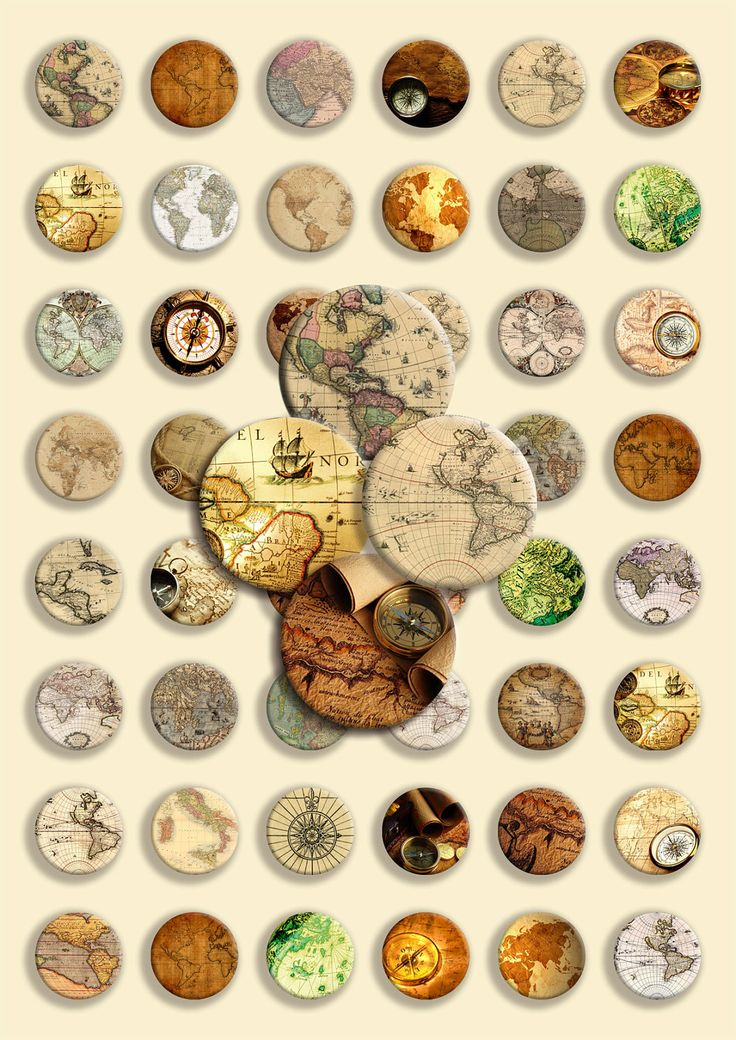 48 Circle Shape - Digital Collage Sheet -  Antique maps & compass - 1 inch - 25 mm. $3.50, via Etsy.