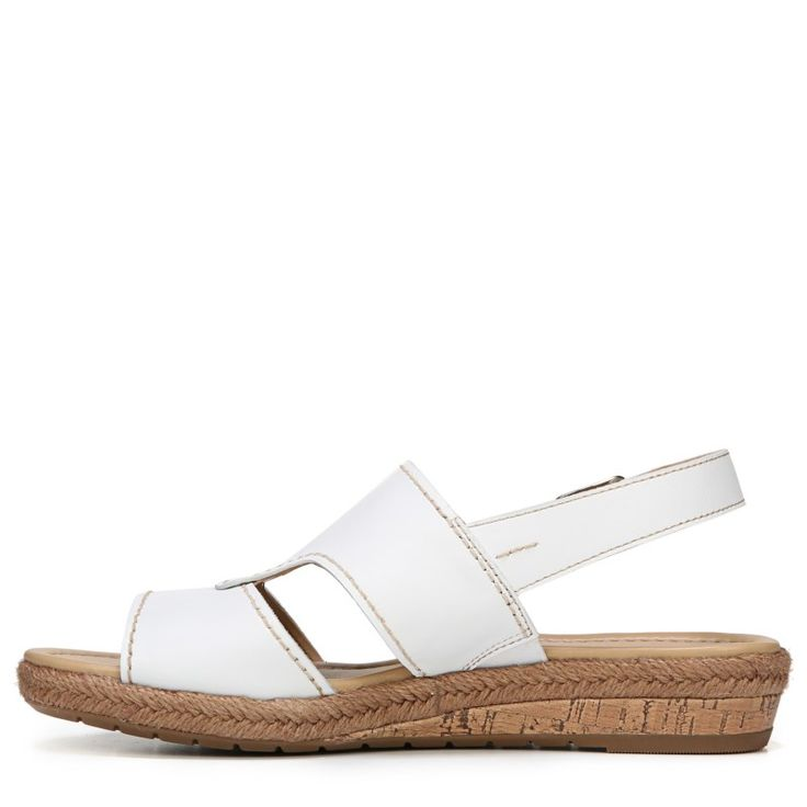 Naturalizer Women's Reese Narrow/Medium/Wide Espadrille Wedge Sandals (White Leather) - 11.0 N