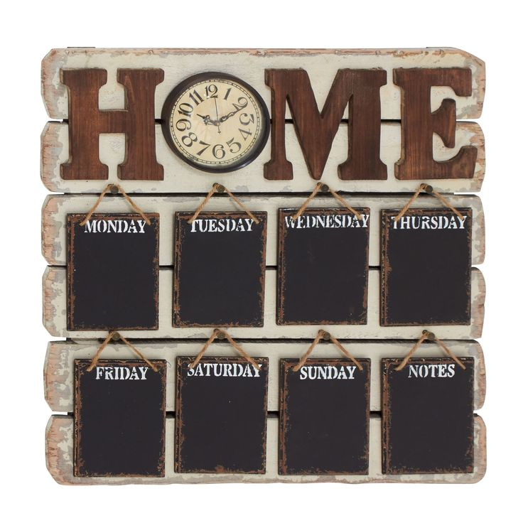 Keep the correct time and a balanced schedule with this wood memo clock. Designed with eight memo boards, this memo clock lets you coordinate your work week in one glance. Antiqued clock runs on a bat                                                                                                                                                                                 More