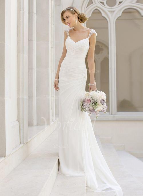 Bröllopsklänningar - $166.64 - Jacka V-ringning Court släp Chiffong Bröllopsklänning med Spetsar (0025093144)