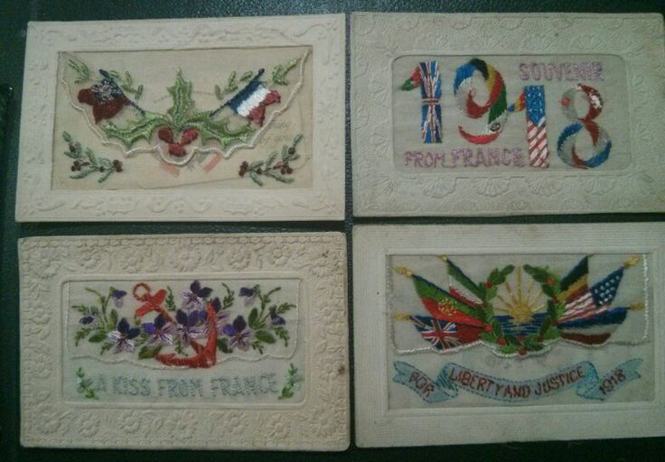 Embroidered postcards 1918 @Beth J  x