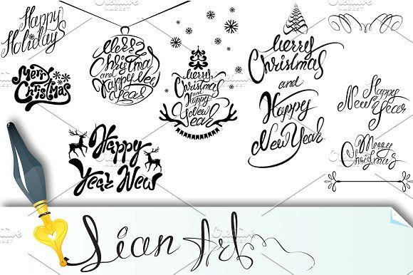 Collection of Merry Christmas texts Graphics Collection of Merry Christmas and Happy New Year calligraphy handwritten texts for winter holidays d by Lian-art
