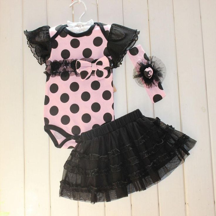 Newborn Infant Baby Girls Sets Polka Dot Headband Romper TUTU Outfit Clothes