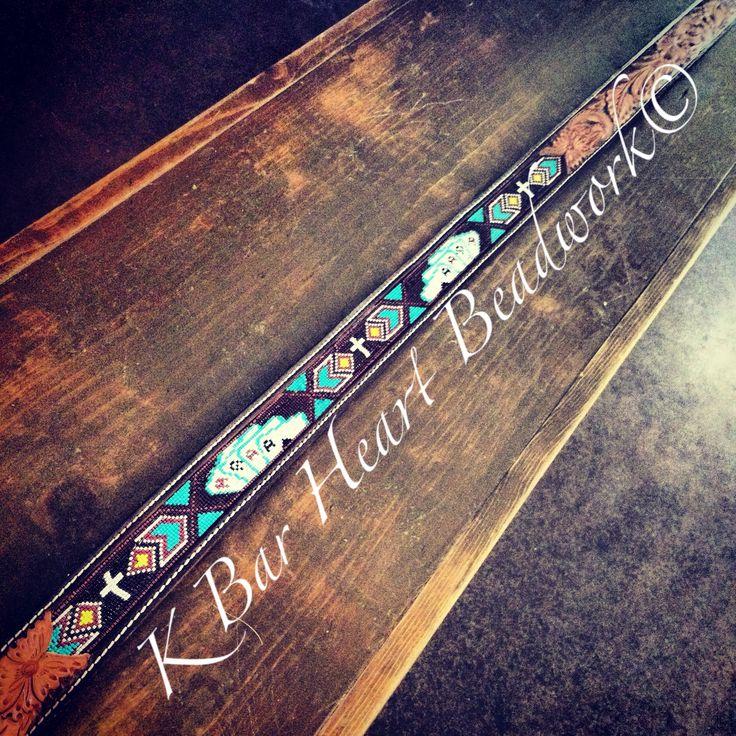 Cowboy beaded belt!  K bar heart beadwork   Www.facebook.com/kbarheartbeads   Beadwork Beaded belt Seed beads Hat bands