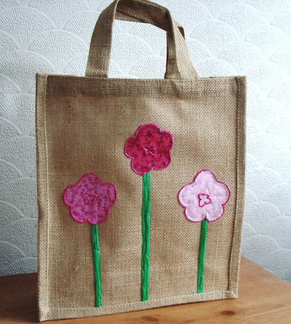 Medium Jute Bag With Pink Fabric Flower Trim Lunch Bag Book Bag Gift