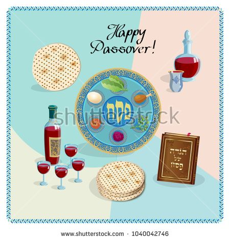 Happy Passover Holiday greeting card with passover symbols, four wine glass, matzah - jewish traditional bread for Passover seder, pesach plate, vector illustration, Jewish Holiday icons set