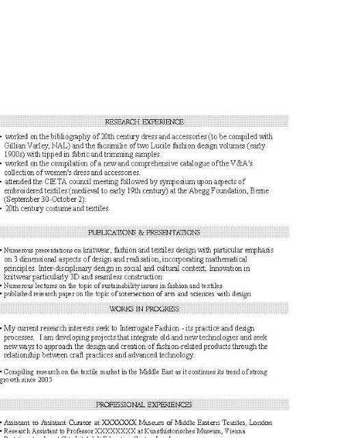 resume for graduate program