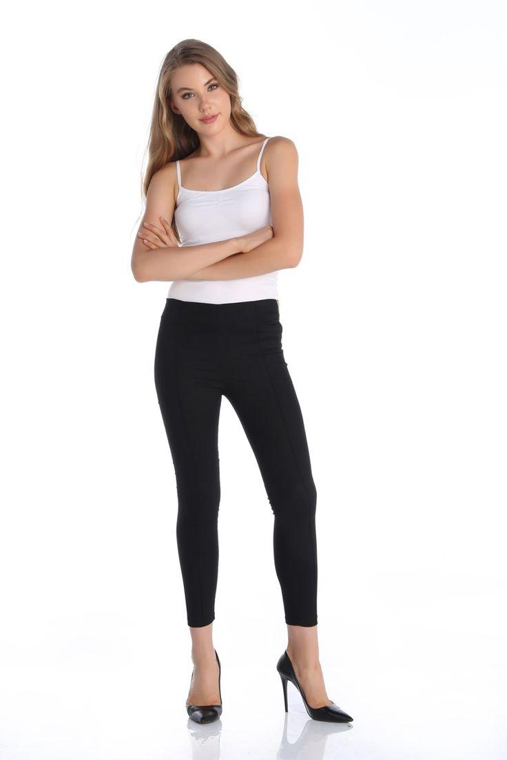 Fermuarlı Çımalı Tayt Pantolon Siyah   Rays Giyim