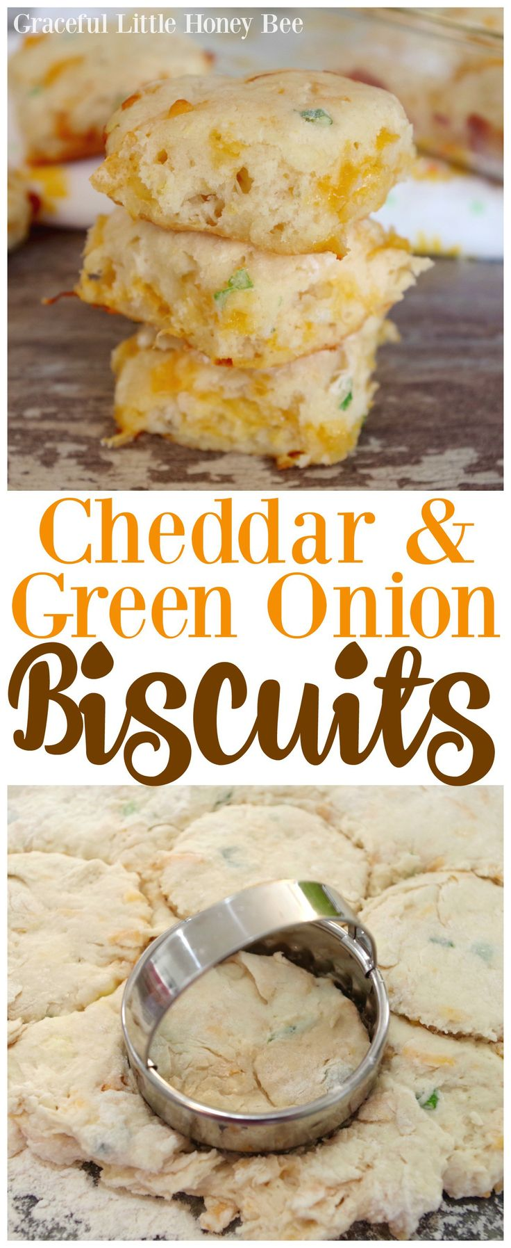 Try these super simple, yet DELICIOUS homemade Cheddar & Green Onion Biscuits on gracefullittlehoneybee.com