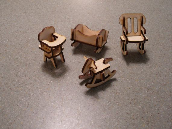 Miniature dollhouse doll house baby furniture by MLSLaserEngraving, $5.00