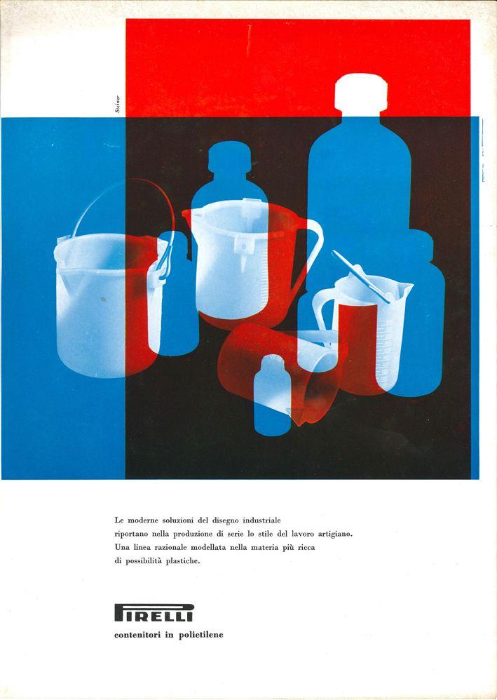 Lica e Albe Steiner. Pagina pubblicitaria per prodotti Pirelli, 1960(