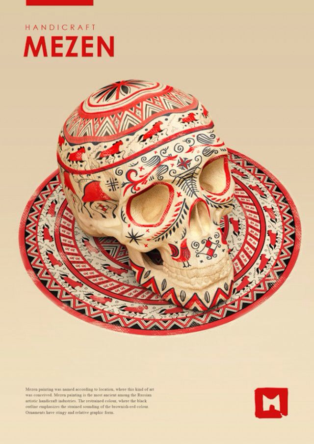 Sasha Vinogradova was inspired by ornaments and traditional Russian folk paintings to color these skulls. From Gorodetsky, Gzhel, North-Dvina Zhostovo, Mezen or Khokhloma these absolutely gorgeous creations play on colors and patterns with talent.