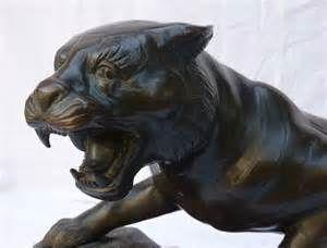 Ecole japonaise Meiji tigre en bronze + socle en bois Asie Japan tiger ...