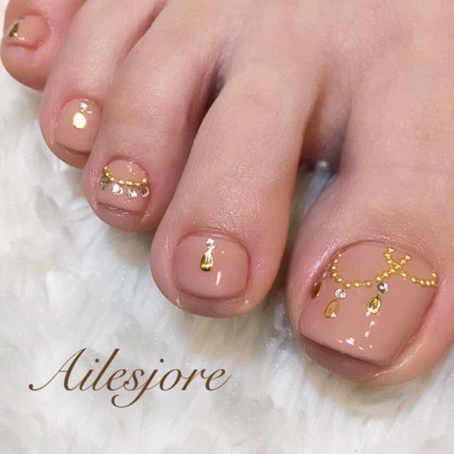 Nude-Gold toe nail art nailbook.jp